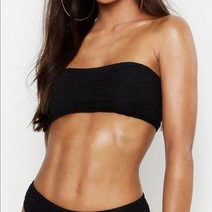 Boohoo Crinkle Bandeau Bikini Top